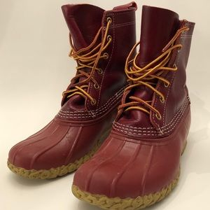 Rare LL Bean Red Leather & Rubber Waterproof Boot